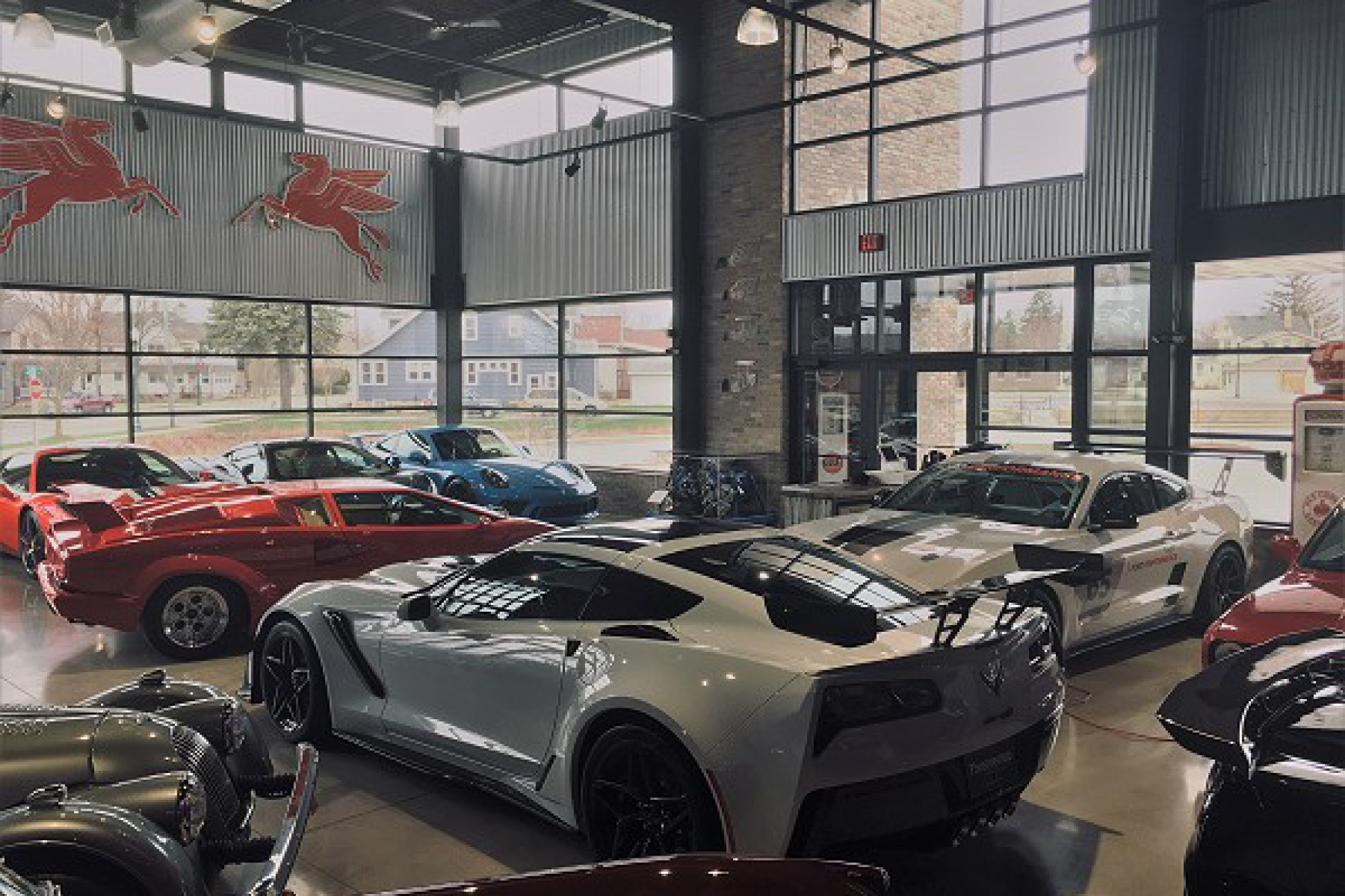 Cars sit in the showroom