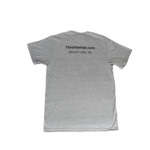 Back of Men's gray tee