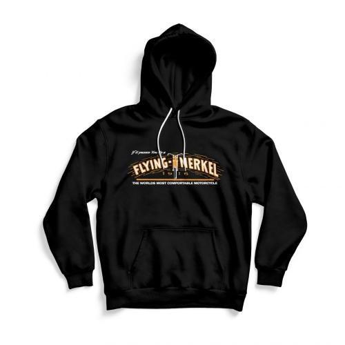 Front of black Flying Merkel hoodie