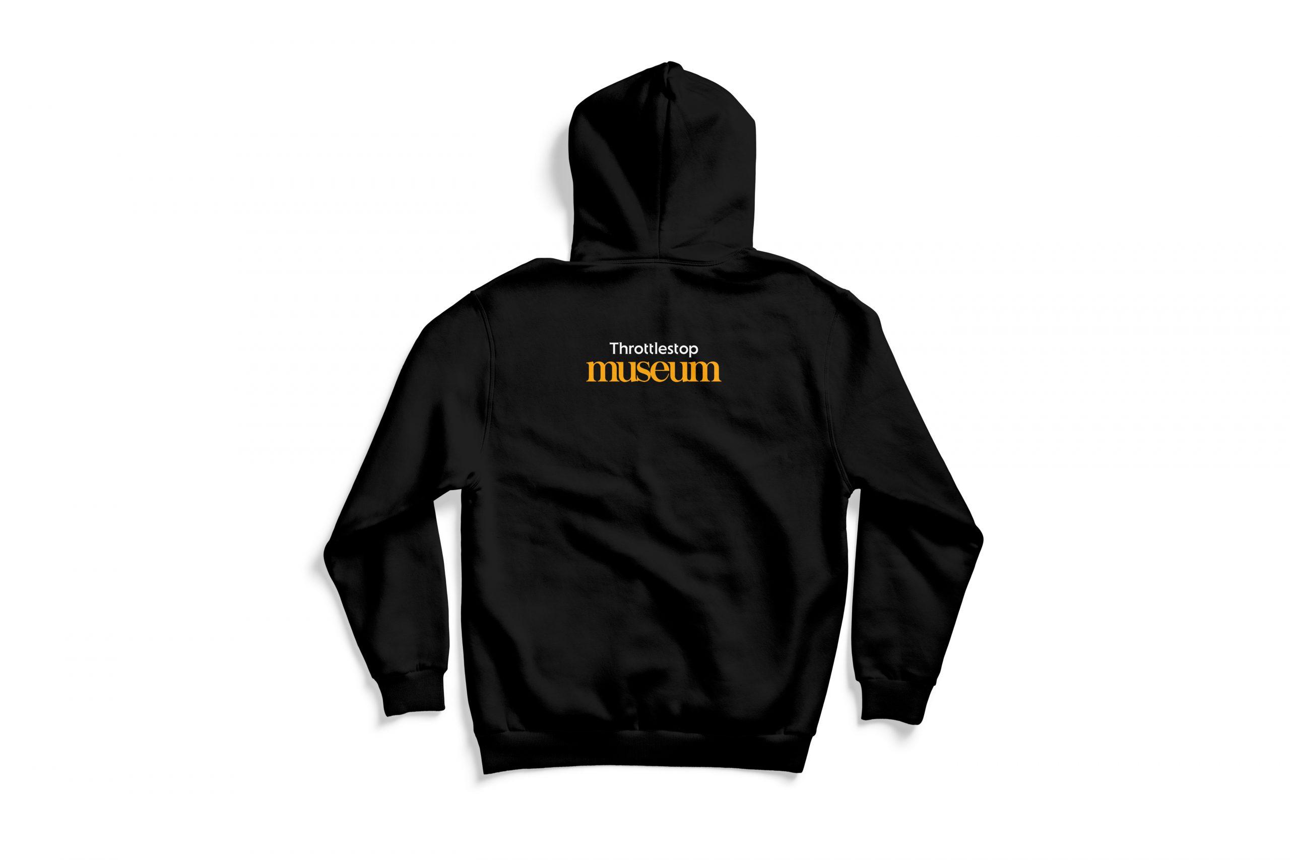 Back of black Flying Merkel hoodie