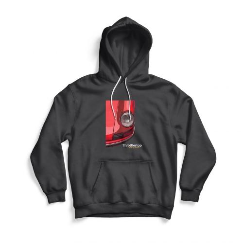 Front of Red Porsche hoodie