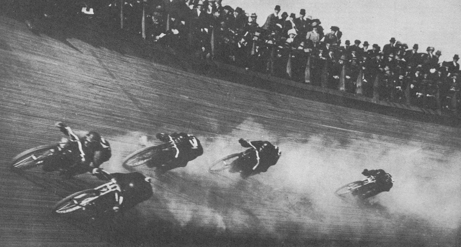 Motorcycle board track racing in action. Throttlestop Motorcycle Museum has examples of these motorcycles.