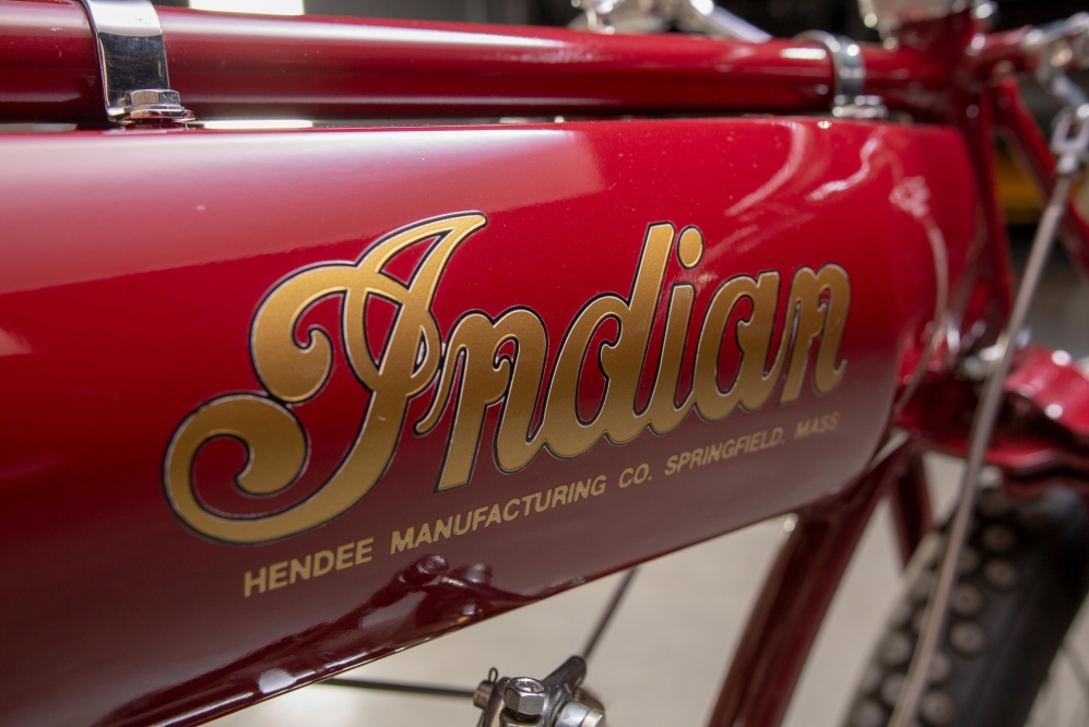 1914 Indian Twin Board Track Racer at the Throttlestop Museum in Elkhart Lake, Wisconsin