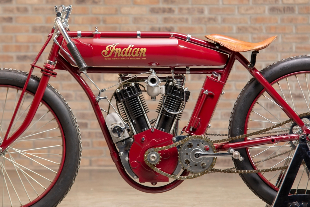 1914 Indian Twin Board Track Racer engine at the Throttlestop Museum